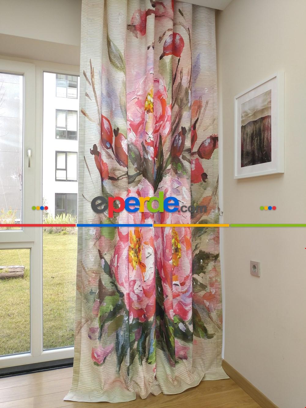 Pano Çiçek Desenli Fon Perde - Pembe - Yeşil