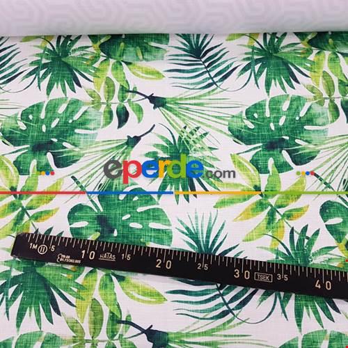 Tropikal Yaprak Desenli Fon Perde Evm1119 Kumaşı Kalındır Duck Bezi Değildir- Yeşil-Beyaz