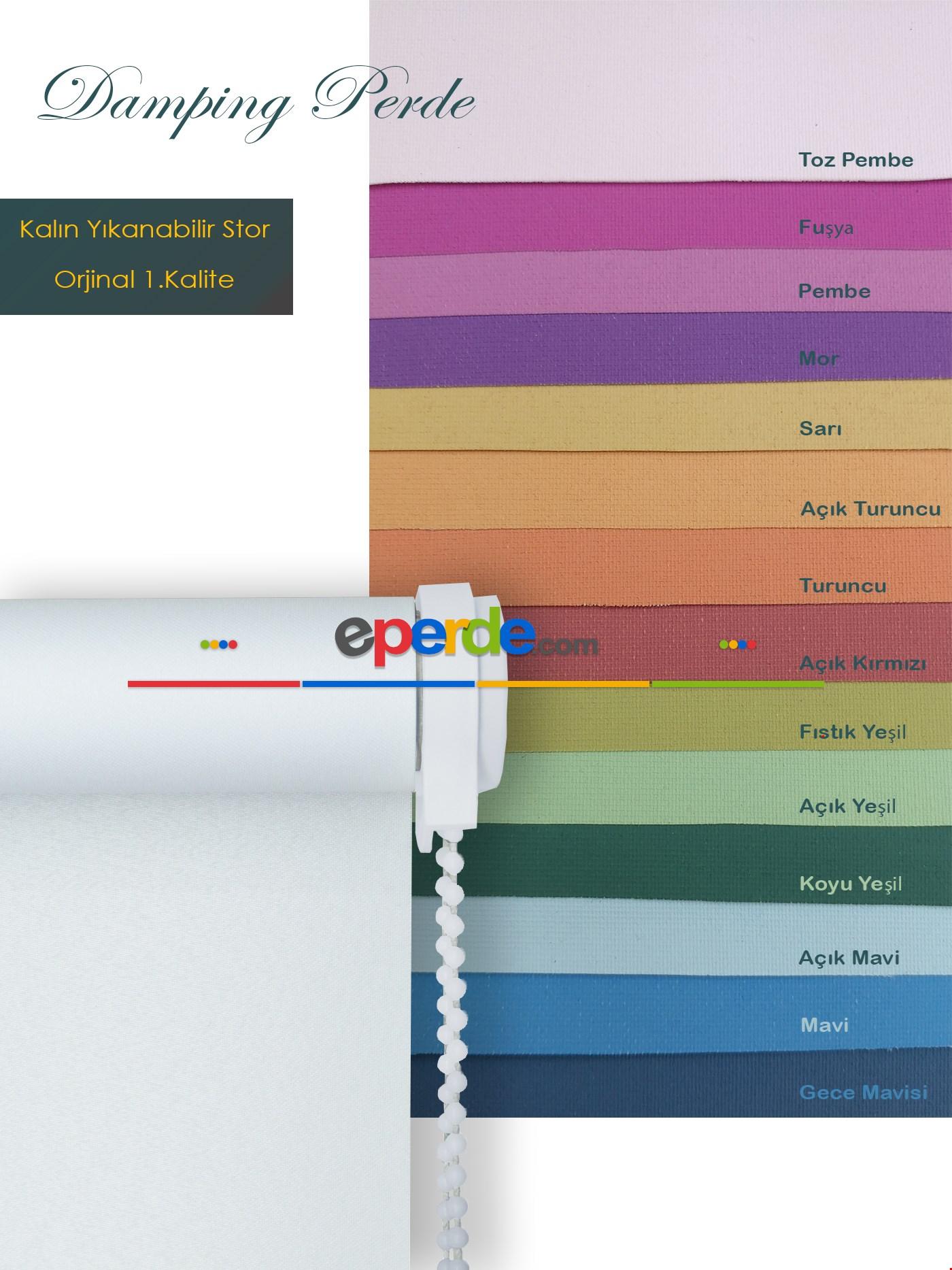 Düz Stor Perde Pembe - Fuşya - Mor - Sarı - Turuncu - Kırmızı - Fıstık Yeşili - Yeşil - Mavi
