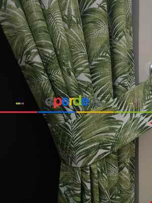Salon Fon Perde - Tropikal Yaprak Desenli Fon Perde(leke Tutmaz)- Yeşil
