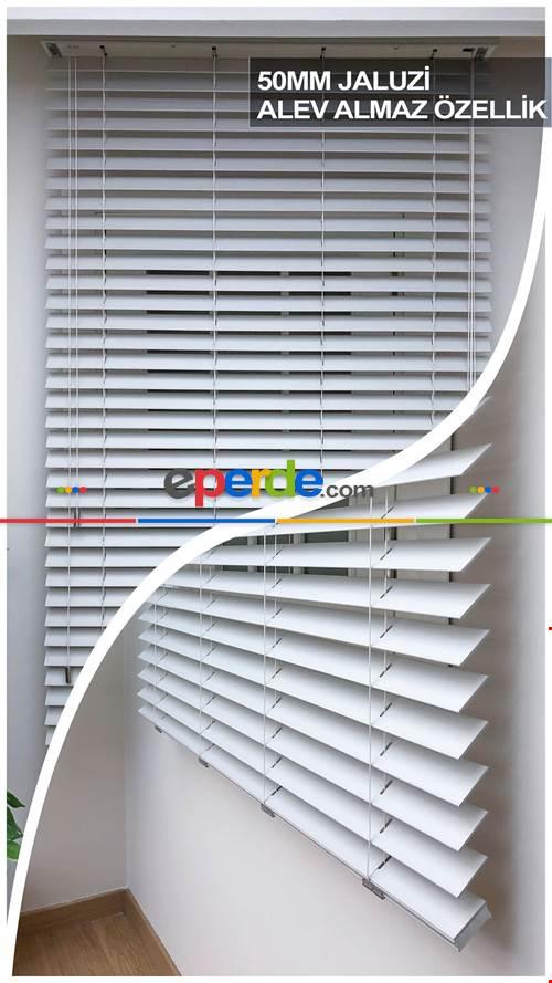 50mm Beyaz Ahşap Efektli Jaluzi Perde Alev Almaz Özellik- Beyaz
