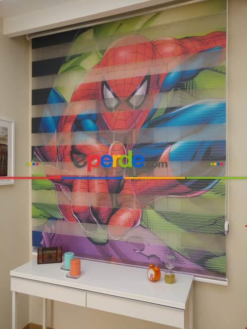 Erkek Çocuk Odası Perdesi Spiderman Örümcek Adam Zebra Perde