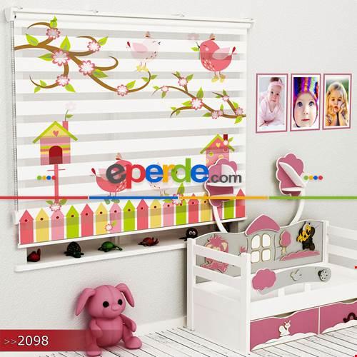 Çocuk Odası - Kuşlar Ve Çitler Vektör Özel Poster Baskılı Zebra Perde