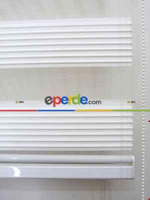 90x200 Hazır Beyaz Dar Plise Zebra Perde-436- Beyaz