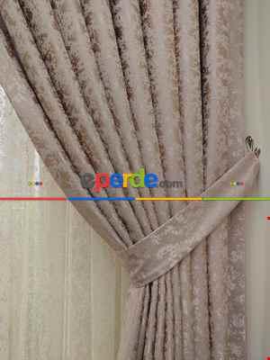 Salon Pudra Duz Jakar Fon Perde (180)- Pudra