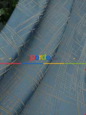 Jakar Desenli Fon Perde- Hardal Sarısı-petrol Mavisi