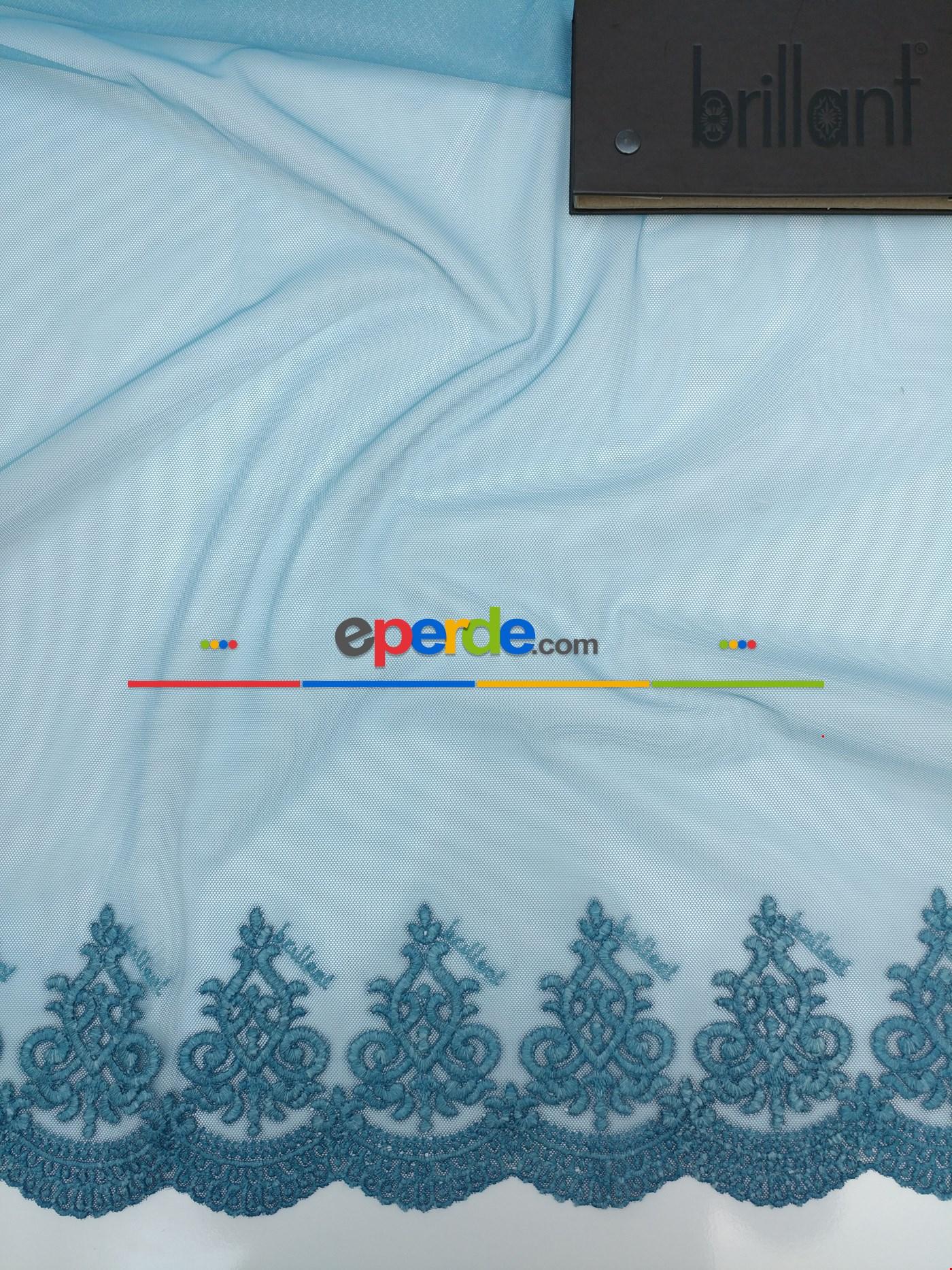 Grek Zemin Üzerine Eteği Kabartma Nakış İşlemeli Tül Perde Brilliant Turkuaz Mavisi
