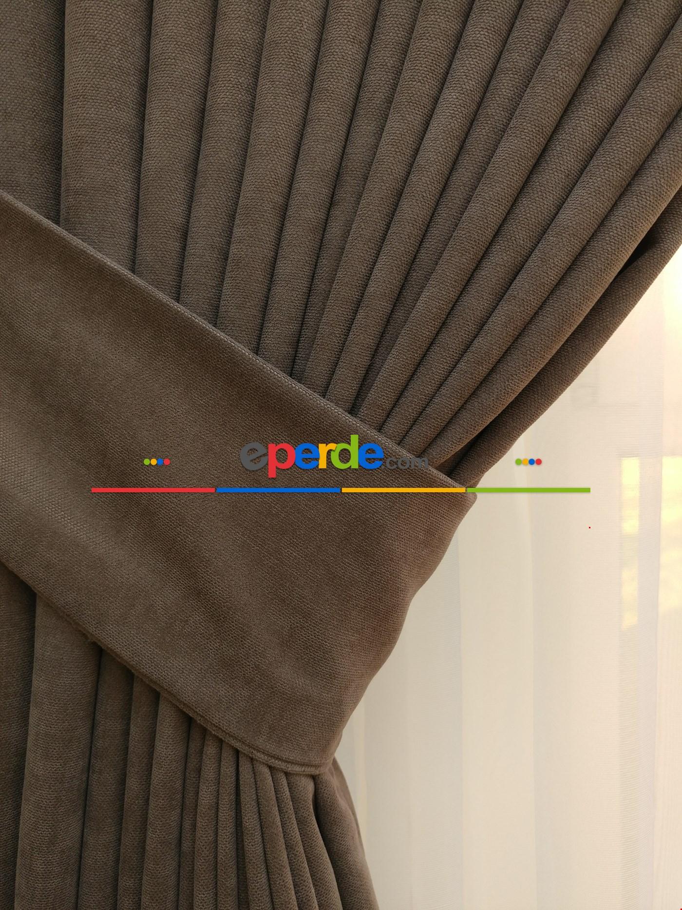 Kahverengi - Düz Fon Perde ( En 180cm Dökümlü Fon Perde)