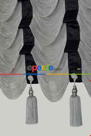 Drape Geniş Bant Kadife Bordür Siyah Model İp Perde Gri Gümüş Simli- Gri-füme-antrasit-gümüş Simli