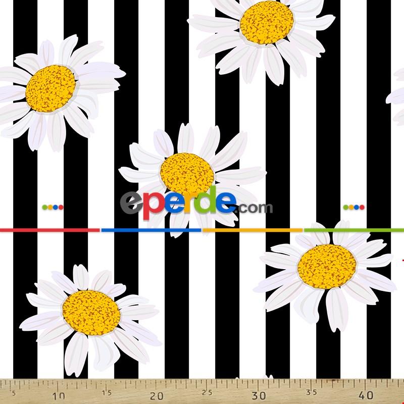 Çiçek Desenli Fon Perde Evm303 - Kumaşı Kalındır Duck Bezi Değildir.- Siyah-Sarı-Beyaz-Çok Renkli