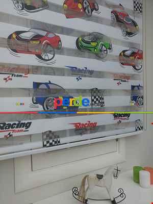 Zebra Perde Racing- Mavi-kırmızı-siyah Kırmızı- Çok Renkli 3-fıstık Yeşili