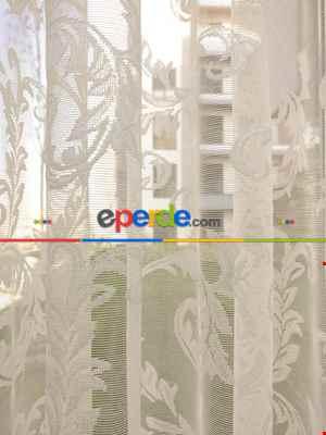 #üreticifirma Sarmaşık Desenli Tül Perde 1.kalite- Ekru