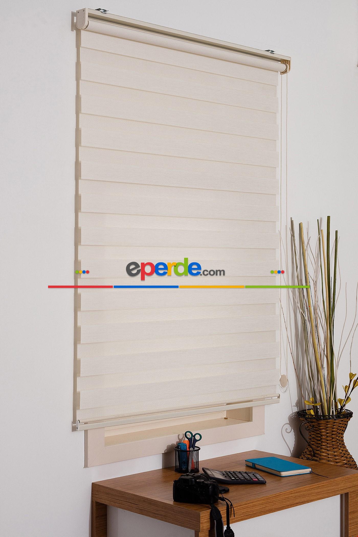 Kalın Bambu Lüx Ekru Zebra Perde ( Ücretsiz Etek Dilim )