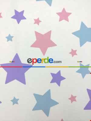 Soft Yıldızlar Kız & Erkek Bebek Odası Fon Perde ( Kalın Pamuklu Kumaş)- Mor-pembe Koyu-mavi Doymamış