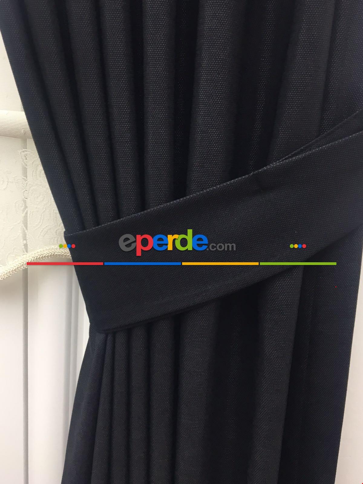 Siyah Renk Düz Fon Perde 140cm X 250cm
