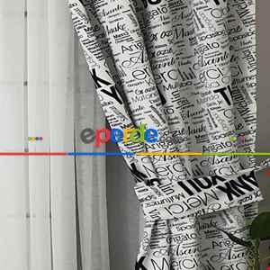 Yazı Desenli Fon Perde Evm684 Kumaşı Kalındır Duck Bezi Değildir- Siyah-Beyaz
