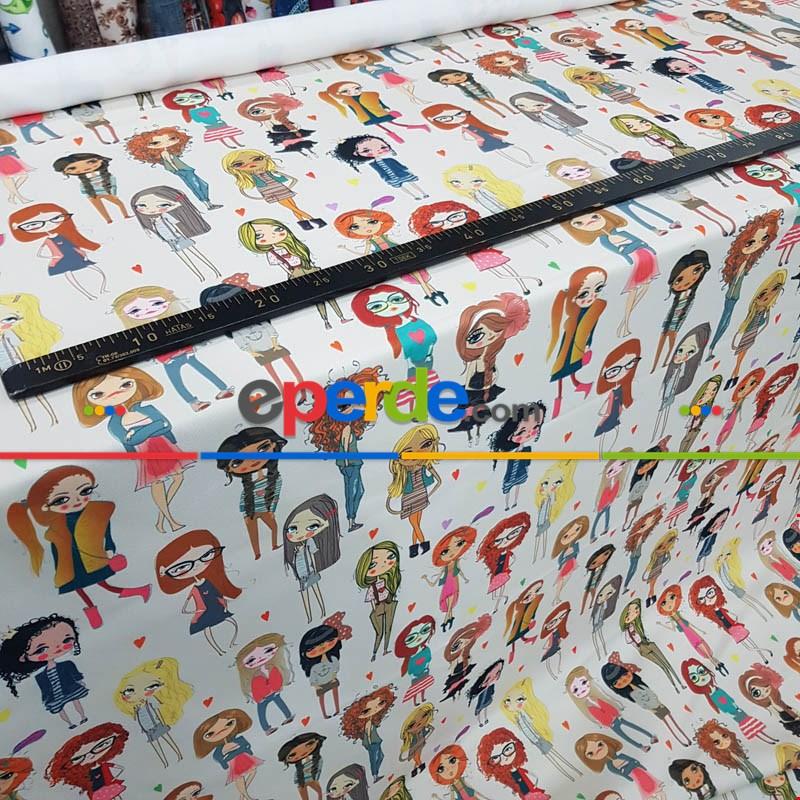 Popart Kız Desenli Fon Perde Evm1061 Kumaşı Kalındır Duck Bezi Değildir- Siyah-Beyaz-Pembe