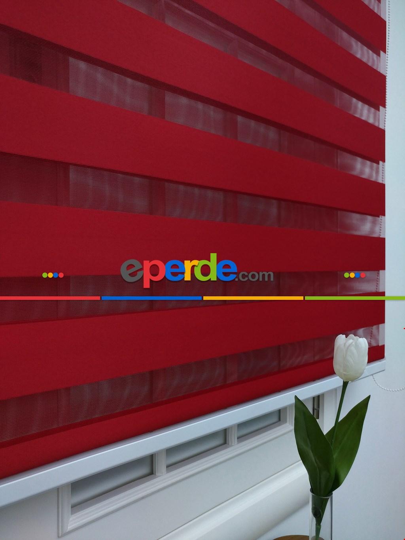 Zebra Perde-tual Kırmızı Renk Düz Zebra Perde