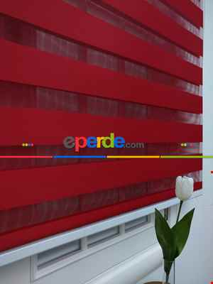 Zebra Perde-tual Kırmızı Renk Düz Zebra Perde- Kırmızı