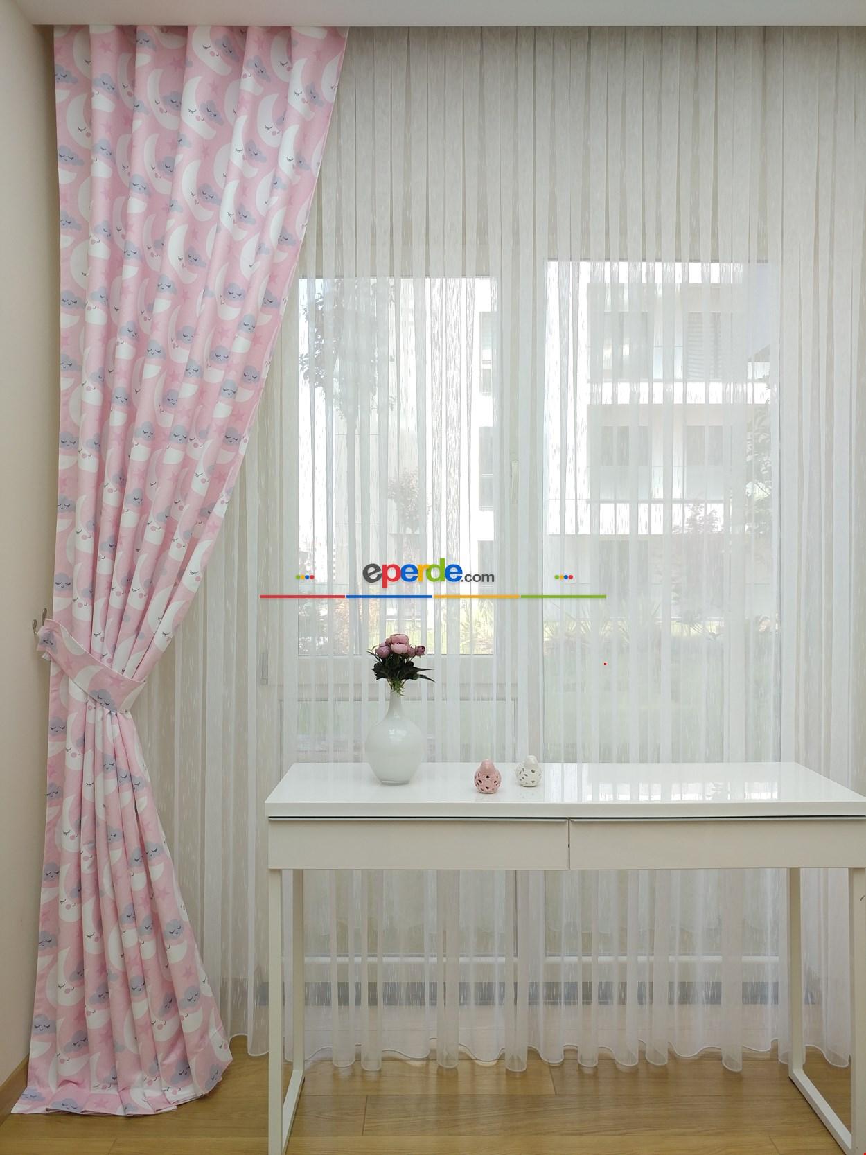 Aydede Desenli Kız Bebek Ve Çocuk Odası Fon Perde Modelleri
