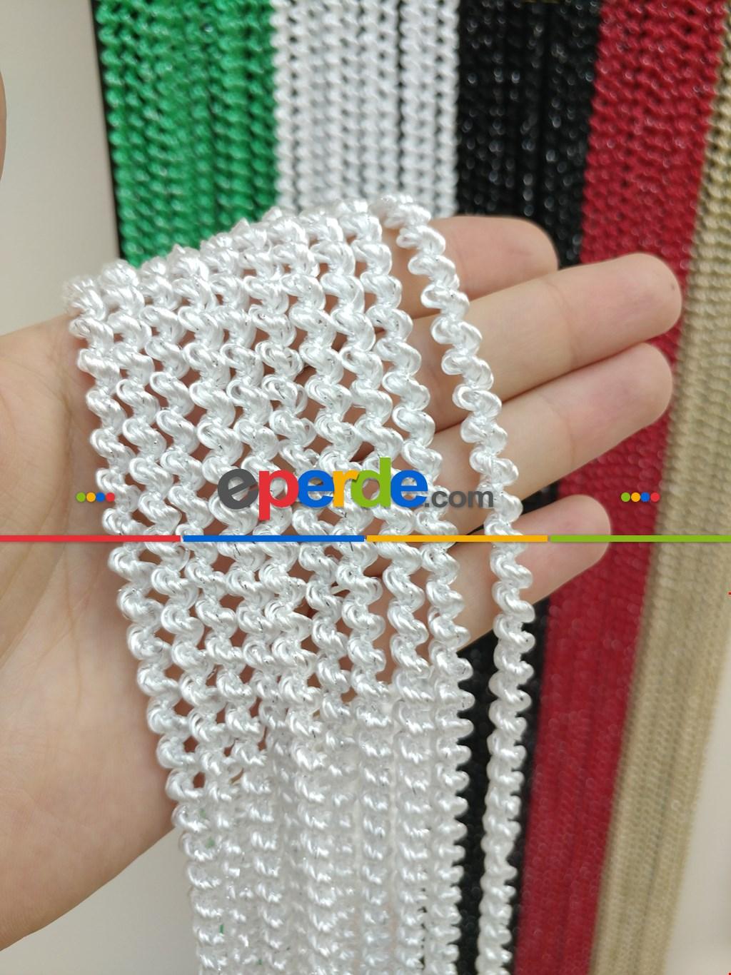 Bukle Serisi Beyaz Gümüş Simli İp Perde- Beyaz-gümüş Simli