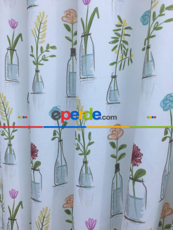 Vazolu Renkli Çiçekli Fon Perde