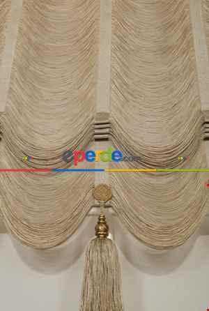 Drape Dar Bant Bantsız Yarım Şelale İp Perde Beyaz Altın- Bej-altın Simli