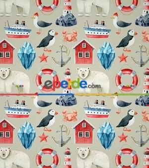 Deniz Feneri Baskılı Stor Perde- Mavi-kırmızı-beyaz