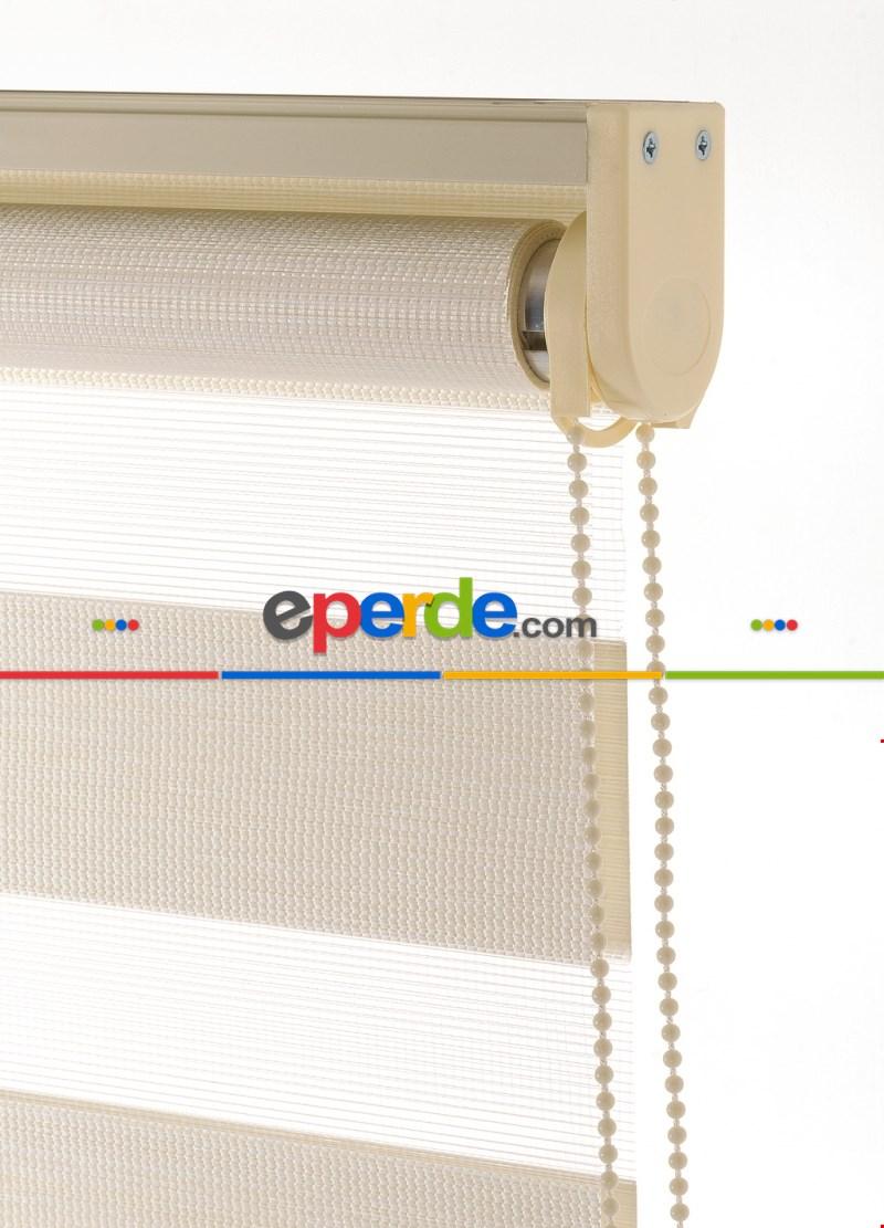 60x200 Hazır Krem Bambu Zebra Perde-256