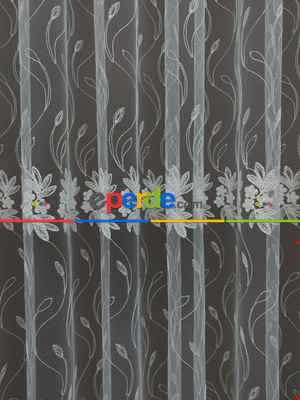 Çiçekli Brode İşlemeli Tül Perde- Ekru