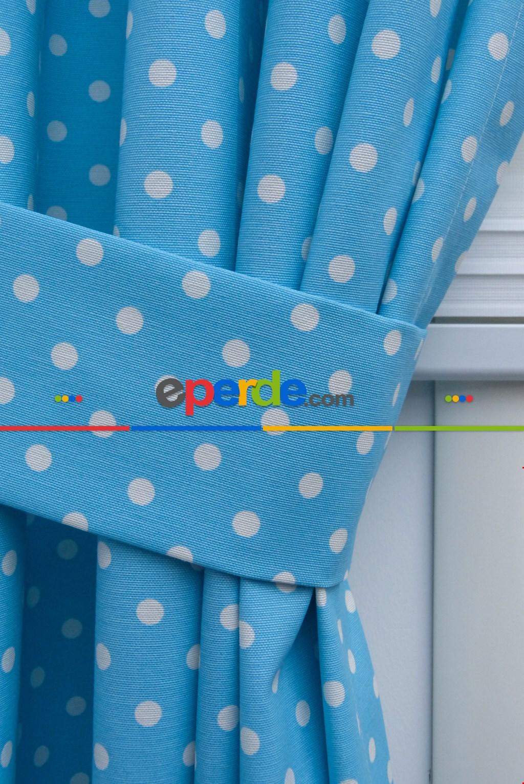 Açık Mavi Fon Perde Puanlı ( Leke Tutmaz ) Mavi Açık