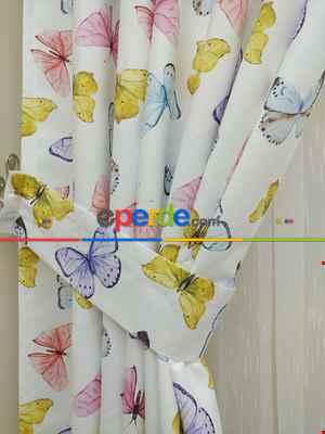 Çocuk Odası Fon - Kelebek Desenli Fon Perde Modelleri- Sarı