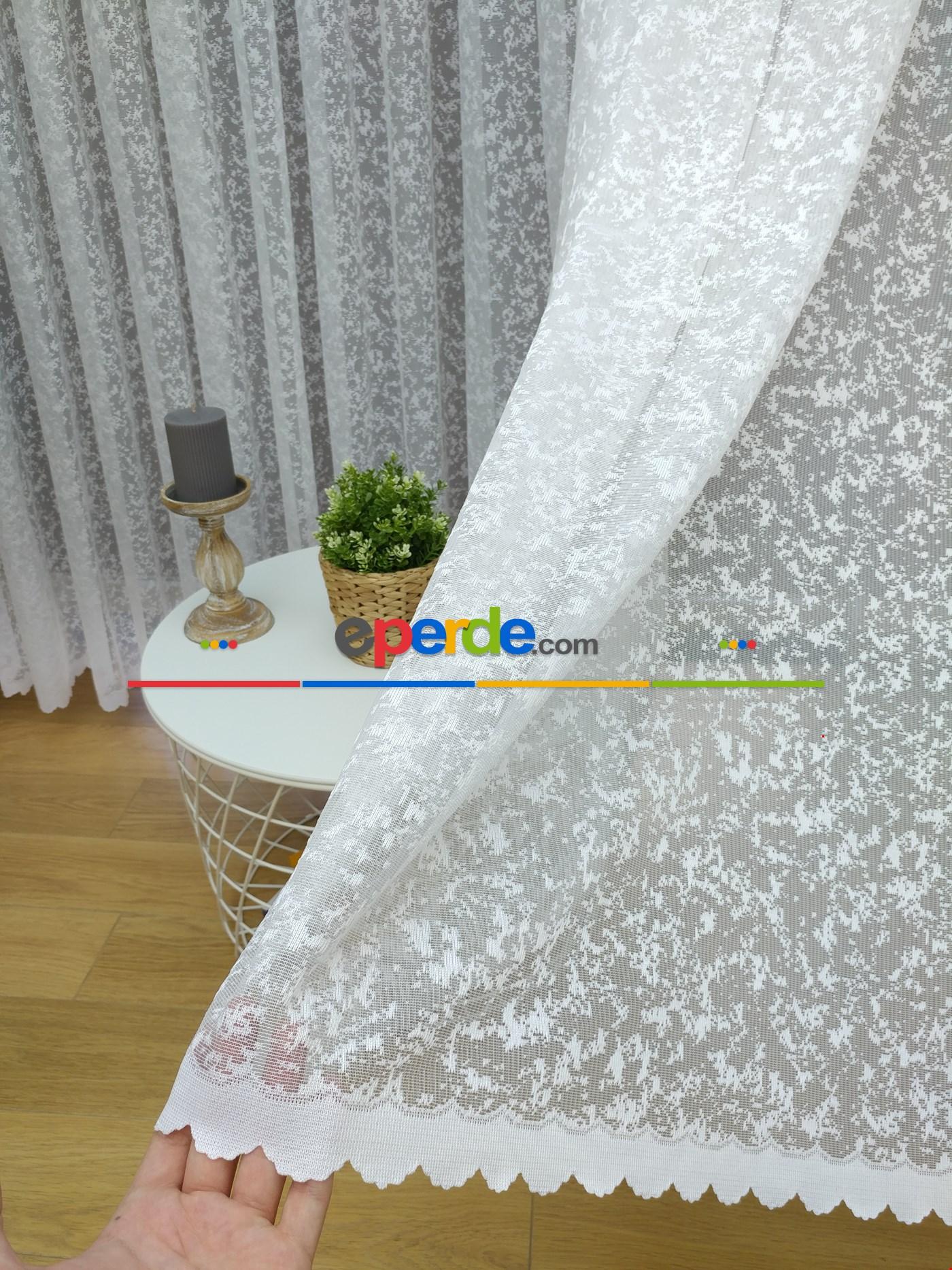 Garantili Beyaz Sade Fransız Dantel Tül Perde & Kruvaze Perde