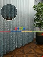 Modern Desenli Baskılı Tül Perde Şantuk Keten 2020 Vizyon Serisi Turkuaz - Kahve Açık - Ekru - Turkuaz Mavisi