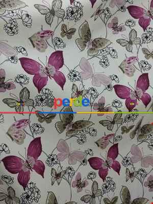 Kelebek Desenli Fon Perde Pembe Mor ( Leke Tutmaz )- Pembe-Mor