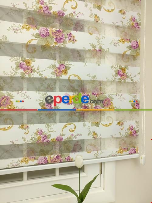 Zebra Perde - Çiçek Baskılı Çocuk Ve Genç Odası- Lila Açık Lila