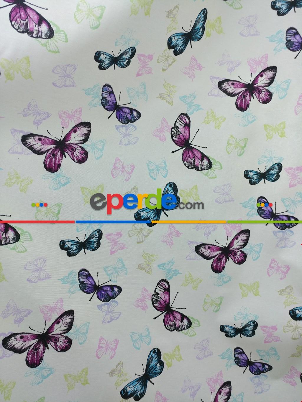 Kelebek Desenli Çocuk Odası Fon Perde ( Leke Tutmaz )