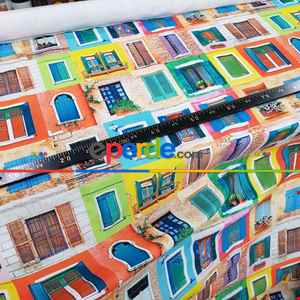 Renkli Pencereli Desenli Fon Perde Evm1068 Kumaşı Kalındır Duck Bezi Değildir- Mavi-Sarı-Kırmızı Açık
