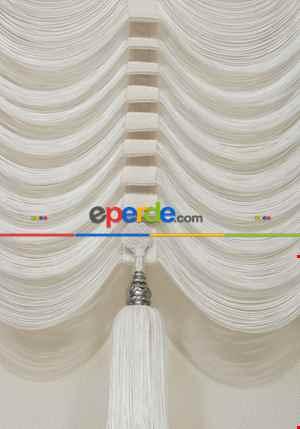Drape Dar Bant Kadife Bantlı Yarım Şelale İp Perde Beyaz- Beyaz