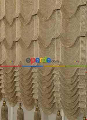 Drape Dar Bant Kadife Yarım Şelale Farbela Model Beyaz Altın- Beyaz-altın Simli