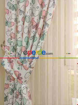 Kız Bebek & Çocuk Odası Kelebek Fon Perde( Kalın Pamuklu Kumaş)- Pembe-yavru Ağzı-mint