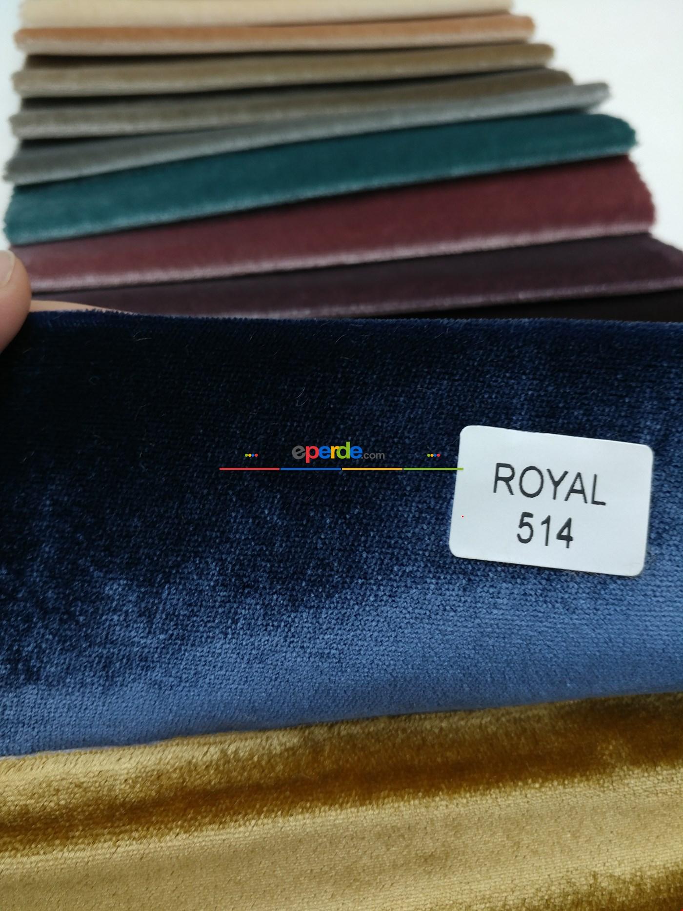 Düz Royal Kadife Fon Perde - Lacivert