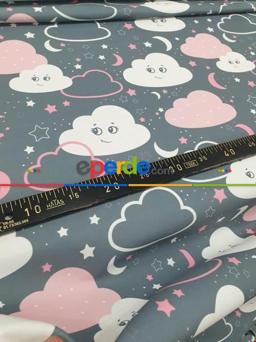 Bebek Odası Fon - Bulut Desenli Fon Perde Evm683-4 Kumaşı Kalındır Duck Bezi Değildir- Beyaz