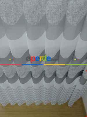 Salon - 1. Kalite Baskılı Tül Dikey Zebra Perde Gri Keten Desenli- Gri-Füme-Antrasit