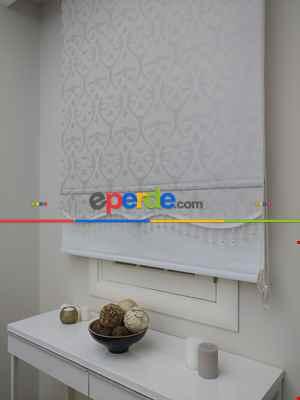 Desenli Çiftli Sistem Tül Stor Perde Ve Stor Perde (1. Kalite)-koyu Krem 120cm X 200cm