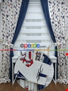 Çapa Denizci Desenli Fon Perde Çift Renk Cırt Kombinli ( Kalın Pamuklu Kumaş )