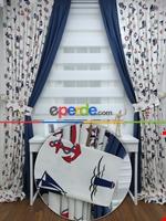 Çapa Denizci Desenli Fon Perde Çift Renk Cırt Kombinli ( Kalın Pamuklu Kumaş ) Lacivert - Mavi - Kırmızı