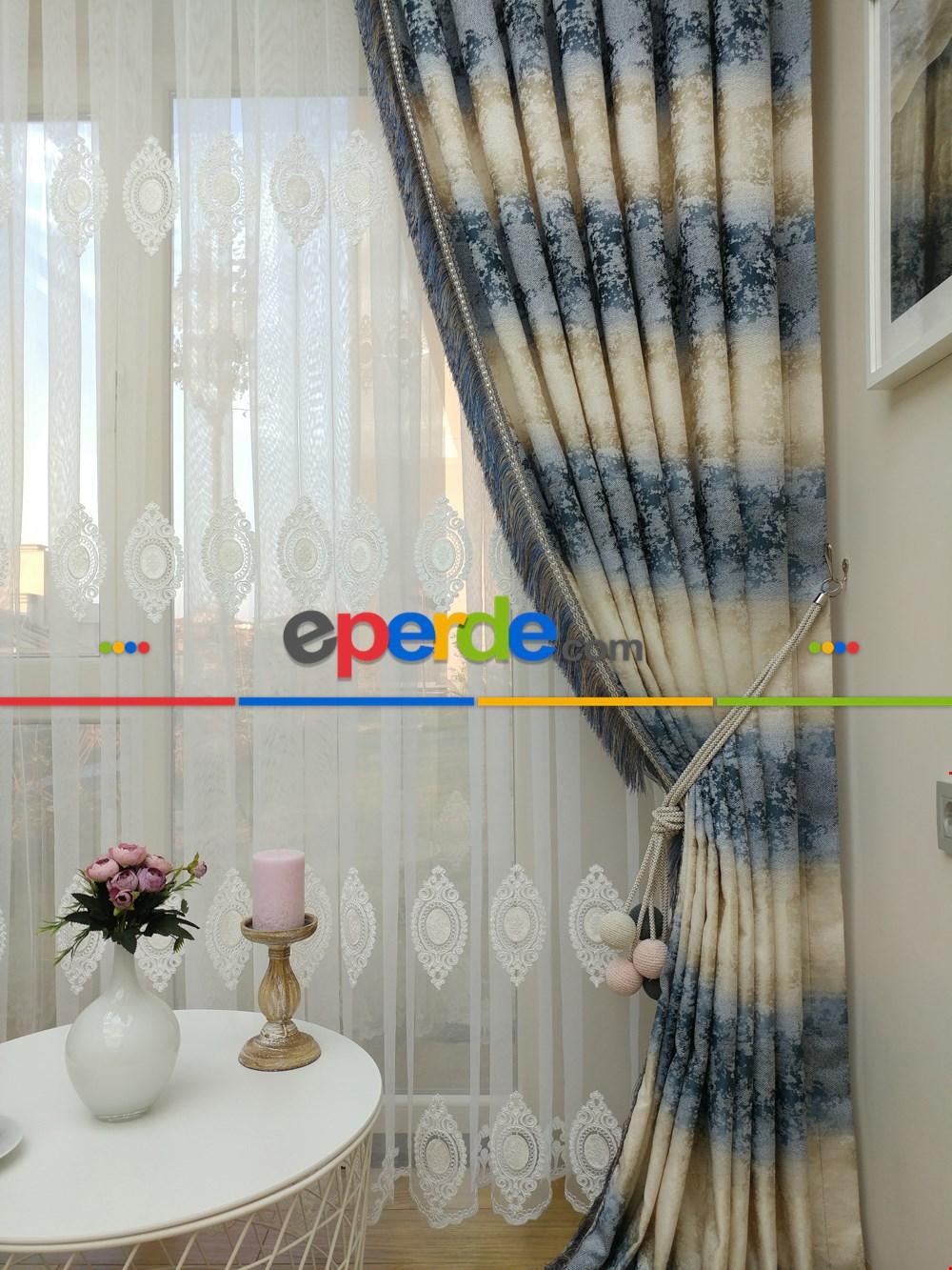 Renk Geçişli Jakar Desenli Salon Fon Perdesi -(saçak Dahildir) Lacivert - Mavi - Bej