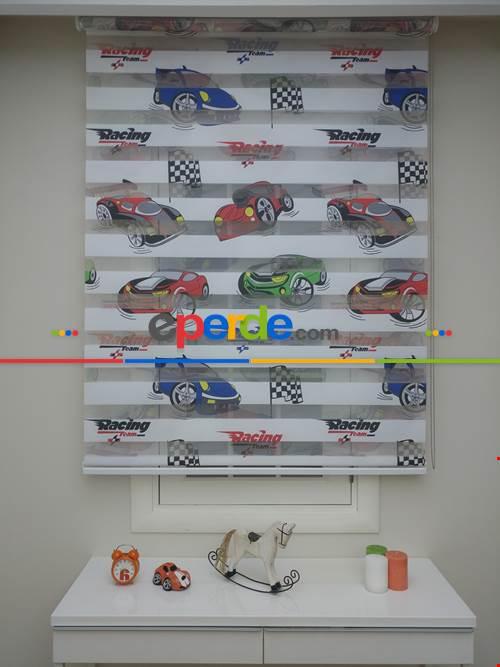 Çocuk Odası - Zebra Perde Racing- Mavi