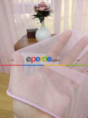 Toz Pembe Ekru Degrade Geçişli Düz Tül Perde- Pembe-Pembe Açık-Ekru